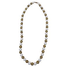 Vintage White and Gold Tone Beaded Plastic Acrylic Women's Necklace
