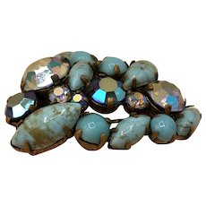 Costume Jewelry Leaf-shaped Brooch Turquoise Colored Stones and Gems