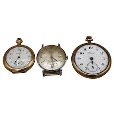 Lot of 3 Antique/Vintage Pocket and Wrist Watches for Parts or Repair