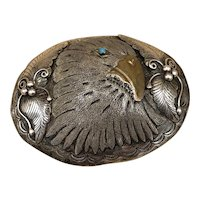 Vintage Navajo Oval Sterling Silver Eagle Belt Buckle w/ Turquoise by Phil Chapo