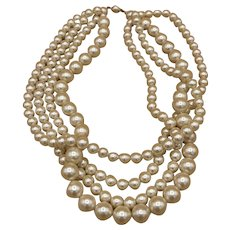 Vintage Faux Pearls Multi Strands Necklace