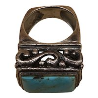 Vintage Native American Silver Men's Ring w/ Turquoise