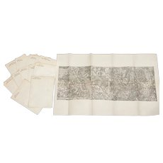 """Antique """"History of the 1st Division Maps"""" Collection of 12 Original Folded Maps"""