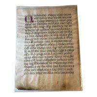 """Original Antique Medieval/Renaissance Manuscript Parchment 20x16"""" Circa 1500"""