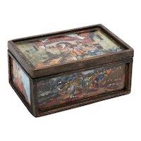 Vintage Wood Trinket Box depicting various scenes on four panels, signed 'Murit'