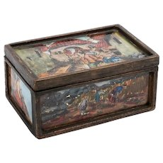 Vintage Wood Trinket Box depicting various scenes on four panels, signed 'Murit'