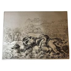"Bartolomeo Pinelli Engraving from the Book ""Historia Romana"" c. 1817"
