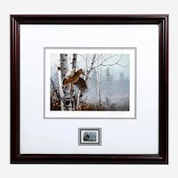 1987 $5 Ruffed Grouse Conservation Stamp Print American Woodcock by DAVID MAASS