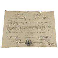 Antique Original Masonic Manuscript Document Grand Orient of Naples Dated 1820