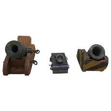 Lot of 3 Miniature Replica Mortar Cannons