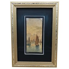 Antique Frans Vervloet Watercolor on Paper with View of Venice, Framed