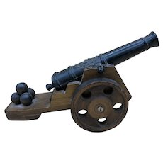 """Vintage Miniature Wooden/Iron Display Cannon 10"""" Long"""