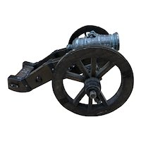 Vintage Wood / Cast Iron Miniature Display Cannon Made in Spain