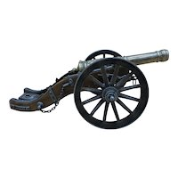 Vintage Wood / Bronze / Iron Miniature Replica of a Louis XIV Cannon