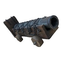 Vintage Personalized Cast Iron / Wood Miniature Display Cannon