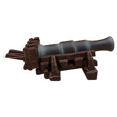 Vintage Wood / Cast  Iron Miniature Naval Cannon - It Shoots Projectiles!