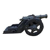Vintage Wood / Brass Miniature Display Cannon