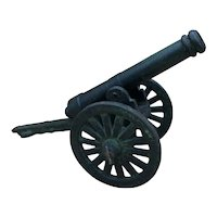 """Antique Victorian Cast Iron Miniature Display Cannon 16"""" Long"""