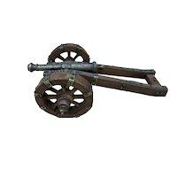 Vintage Wood / Cast Iron Miniature Display Artillery Cannon