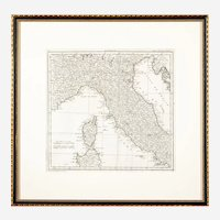 """1769 """"Voyage en Italie"""" by Jérôme Lalande Copperplate Map of Italy"""