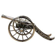"Vintage Cast Iron Large Miniature Display Artillery Cannon 12"" Long"