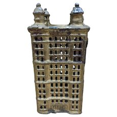 Vintage Antique Cast Iron Tower Building Coin Still Bank