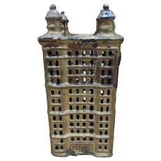 Vintage Antique Cast Iron Tower Building Coin Still Bank