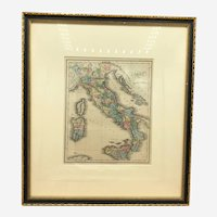 Italy Italia beautiful 1844 Walker antique hand-colored old map