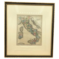 Beautiful 1844 Walker antique hand-colored old map of Italy