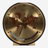 Mid-Century Kienzle GMT World Time Zone Brass Table Clock, Germany, 1960s