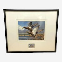 1984 Maine Duck Stamp Art Print & 1 Stamp David A. Maass Signed Framed