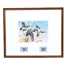 James Killen 1986 Signed Duck Print w/ First Day Issue Stamp Framed