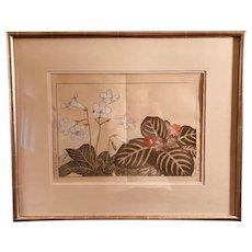 Japanese Signed Botanical Watercolor