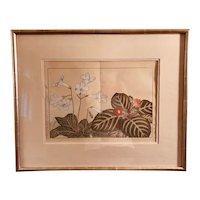 Vintage Japanese Signed Botanical Watercolor, Framed
