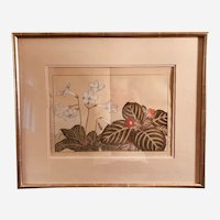 Vintage Japanese Signed Botanical Watercolor, Framed