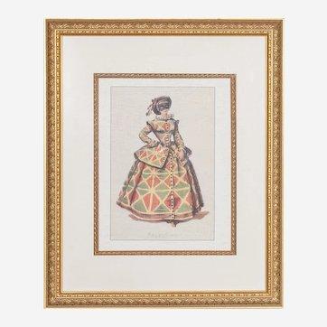 Vintage 18th C. Style Venetian Carnival Framed Colored Art Print