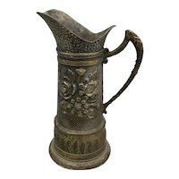 Antique French Creamer Pitcher Handmade Brass Creamer Cup with Ornate Body