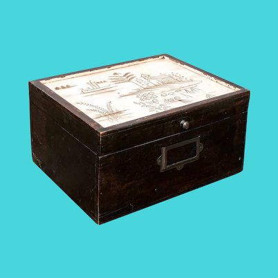 Vintage Decorative Wooden Box, Dark Brown, with White, Painted Lid