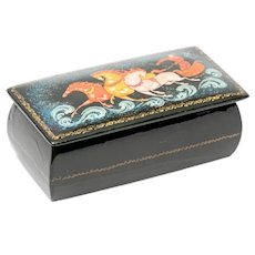 Small Russian Lacquer and Decorated Box, Artist Signed