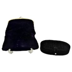 Vintage Coblentz black velvet foldover evening clutch purse With Original Box