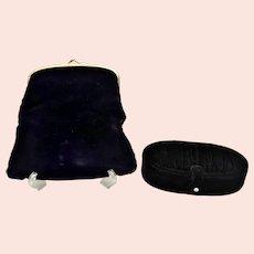 Vintage Coblentz black velvet foldover evening clutch purse With Original Box