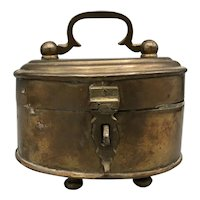 Vintage Brass Box with Lid, Handle, Feet and Latch