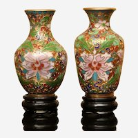 Pair of Mini Cloisonné Vases with Stands