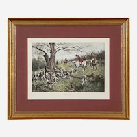 "Antique George Wright Etching Titled ""Up a Tree"""