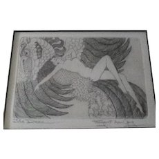 """Vintage Original Signed Margaret Ann Gaug Etching Entitled """"The Dream"""", Art Nouveau Style Nude Woman Lying on Back of Exotic Winged Creature"""