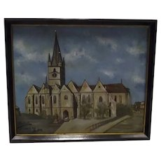 Antique 1902 Original Oil Painting of Church, With German Inscription En Verso, Signed by Hungarian Artist Pal Paulovits