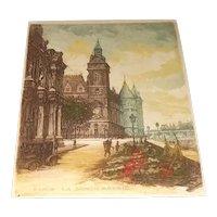 "Antique Signed Leopold Robin Original Colored Engraving/Etching Entitled ""La Conciergerie"""