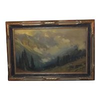 Antique Original Circa 1917 Charles Partridge Adams Volchrome Print, Entitled 'After the Storm', in Ornate Early 20th Century Frame