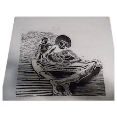 "Original Artist Proof Woodcut, Signed by New York Artist Arthur Brangman and Entitled ""Mother and Children"""