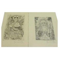 Two Vintage Signed Original Ex Libris Bookplate Etchings, by Czech Artist Jaroslav Vodrazka